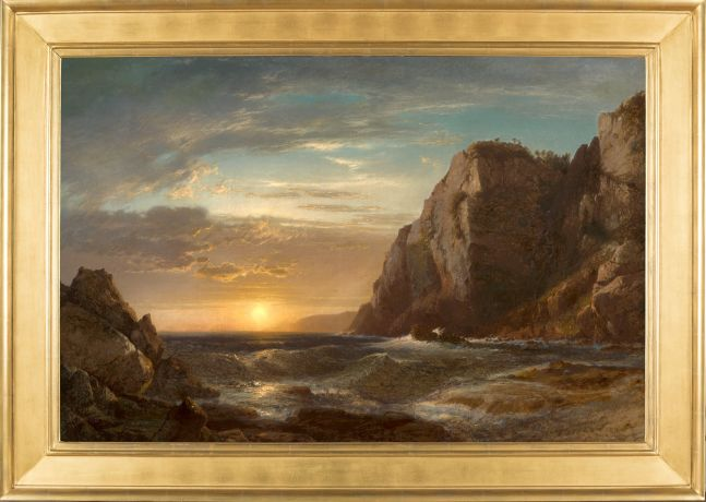 William Hart (1823–1894), Sunset on Grand Manan Island, New Brunswick, 1861, oil on canvas, 32 x 48 in., signed and dated lower left: Hart 1861 (framed)