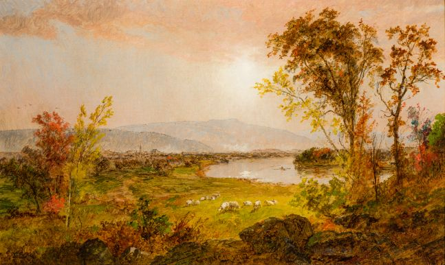 Jasper F. Cropsey (1823–1900), A Bend in the River, 1892, oil on canvas, 12 ½ x 20 ½ in. signed and dated bottom center: J. F. Cropsey 1892