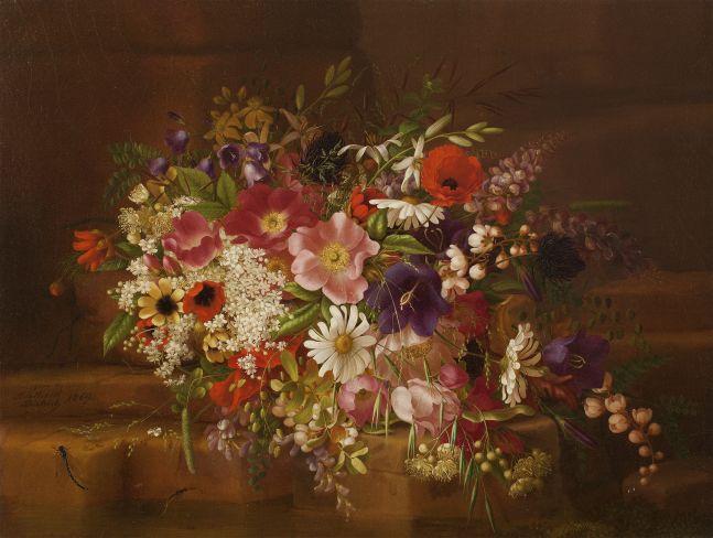 Adelheid Dietrich (1827–1891), Still Life with Flowers, 1869, oil on board, 13 3/4 x 17 in.,  signed lower left: Adelheid Dietrich / 1869 Signed and dated verso: Adelheid Dietrich. / 1869