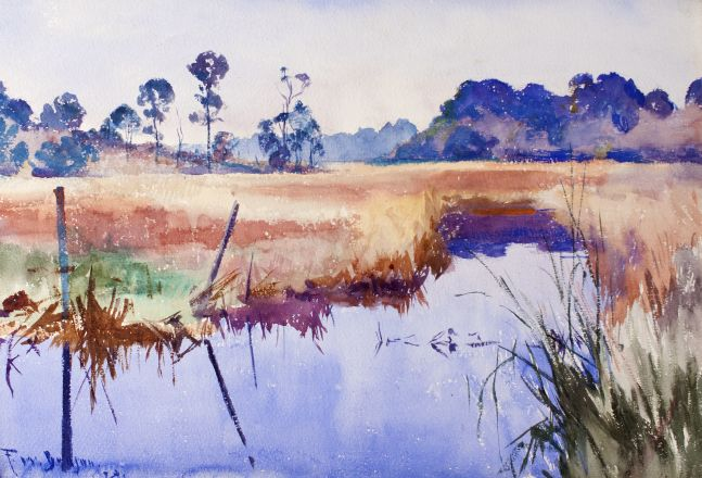 Colorful watercolor by Frank W. Benson of a river in Alabama.