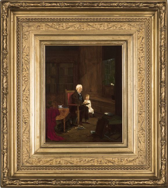 Charles Caleb Ward (1831–1896), The Lesson, 1875, oil on board, 10 x 7 7/8 in., signed and dated lower right: Charles C. Ward 1875 (framed)