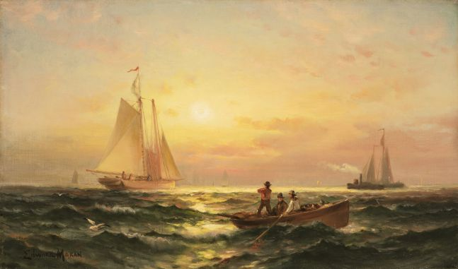 Edward Moran (1829-1901), Shipping at Sunset, oil on canvas, 11 1/4 x 19 1/4 in., signed lower left: Edward Moran