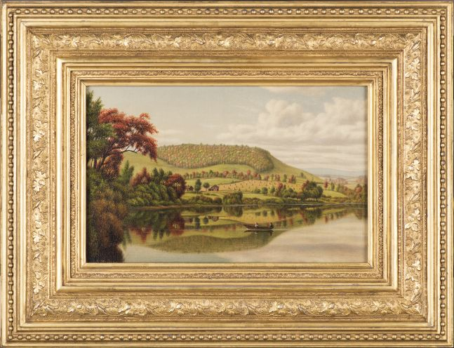 Levi Wells Prentice (1851–1935), Autumn Reflections, oil on canvas, 8 x 12 in., signed lower left: L.W. Prentice (framed)