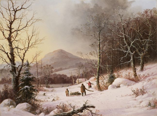 George Henry Durrie (1820–1863), Gathering Wood, c. 1859, oil on canvas, 18 1/8 x 24 in., signed lower left: G.H. Durrie / N. Haven