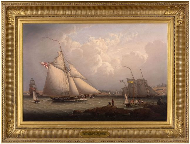 Robert Salmon (1775–c.1845), English Cutter and Lugger, off North Shields, 1840, oil on panel, 16 1/2 x 24 1/2 in., inscribed verso in artist's hand: No. 28 / Painted by R. Salmon/ 1840 (framed)