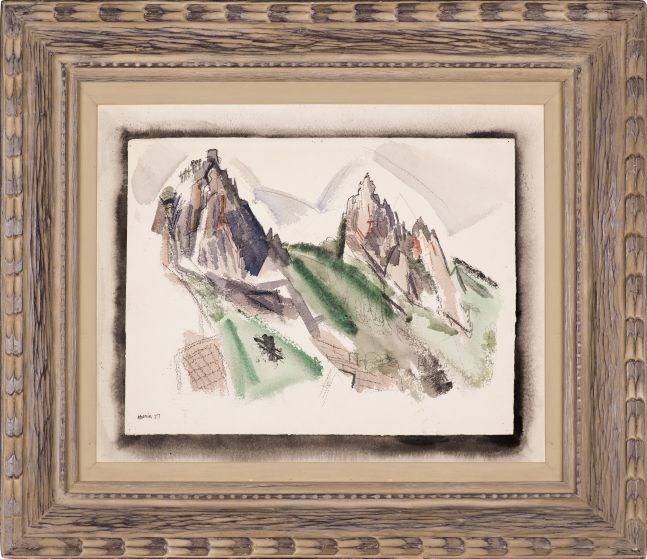 John Marin (1870–1953), White Mountain Country, Summer No. 29, Dixville Notch, No. 1, 1927, watercolor, graphite, and black chalk on paper, 17 7/8 x 22 1/4 in. (including mount), signed and dated lower left: Marin 27, inscribed on verso in pencil: White Mountains Country / (29) Dixville Notch (framed)