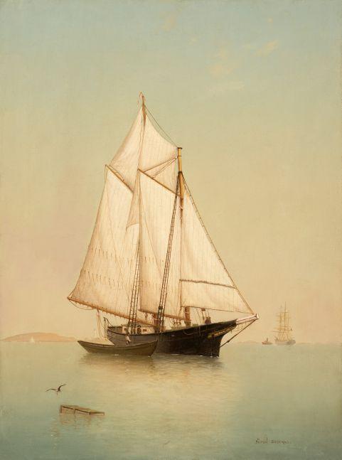 Warren Sheppard (1858–1937), Schooner off Ten Pound Island, oil on canvas, 24 x 18 in., signed lower right: Warren Sheppard