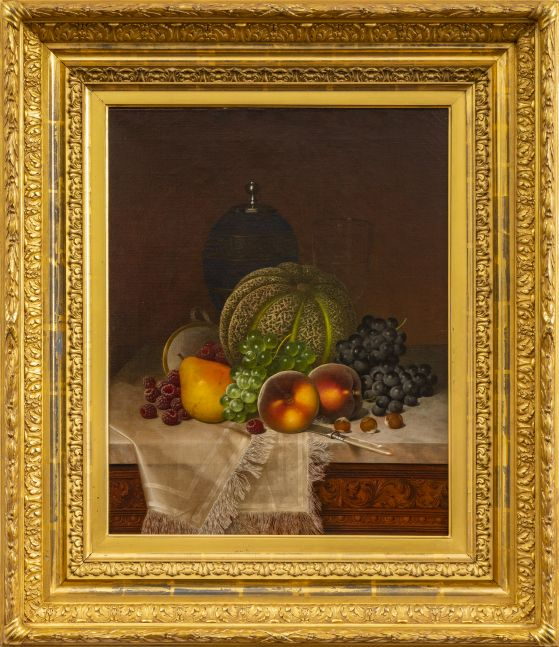 William Mason Brown (1828–1898), Still Life with Fruits, Samovar and Teacup, c. 1875, oil on canvas, 20 x 16 in., signed lower right: WM Brown (framed)
