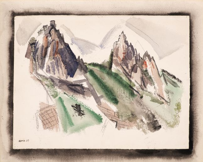 John Marin (1870–1953), White Mountain Country, Summer No. 29, Dixville Notch, No. 1, 1927, watercolor, graphite, and black chalk on paper, 17 7/8 x 22 1/4 in. (including mount), signed and dated lower left: Marin 27, inscribed on verso in pencil: White Mountains Country / (29) Dixville Notch No. 1 / Marin 1927