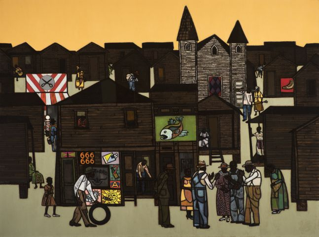 Robert Gwathmey (1903–1988), The Gathering, c. 1959, oil on canvas, 36 x 48 in., signed lower left: Gwathmey