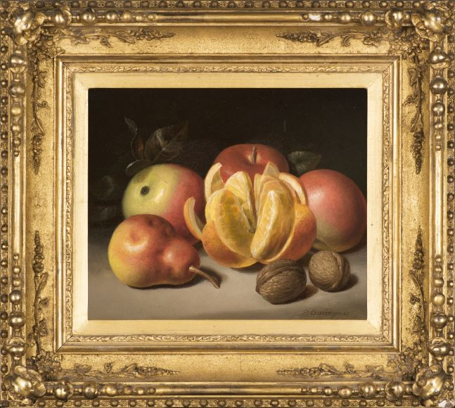Peter Baumgras (1827–1903), Still Life: Apples, Orange, Pear and Nuts, c. 1860, oil on academy board, 8 x 10 in., signed lower right: P. Baumgras (framed)