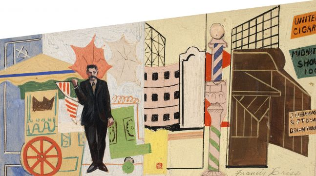 Francis Criss (1901–1973), Mural Study, c. 1930, oil on artist board, 4 x 7 in., signed lower right: Francis Criss