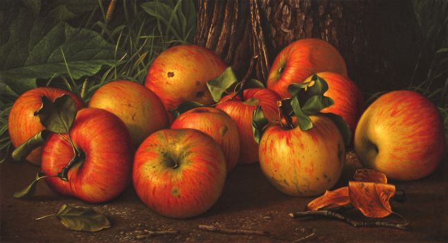 Levi Wells Prentice (1851–1935), Apples by a Tree, c. 1885, oil on canvas, 10 x 18 in.