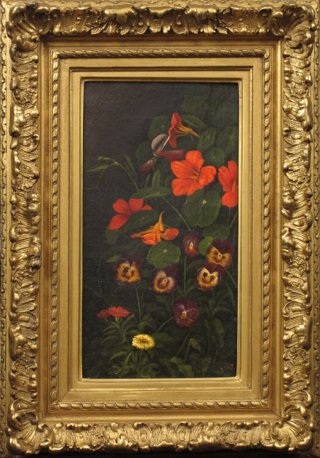 Levi Wells Prentice (1851–1935), Pansies and Nasturtiums, c. 1890, oil on canvas, 11 1/2 x 6 1/2 in., signed lower right: L. W. P. (framed)