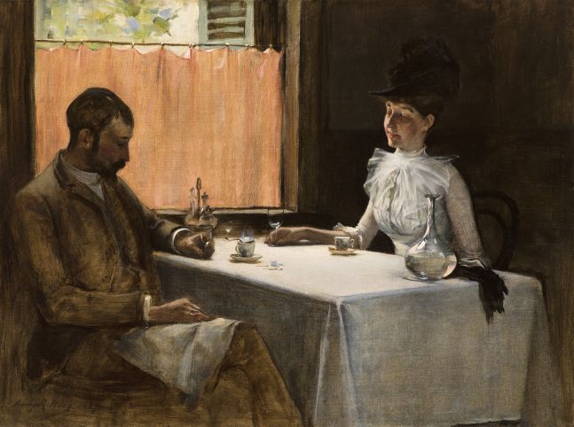 Irving Ramsey Wiles (1861–1948), The Loiterers, 1887, oil on canvas, 18 x 24 in., signed and dated lower left: Irving R. Wiles 1887. The artist and his wife seated in a Parisian cafe.