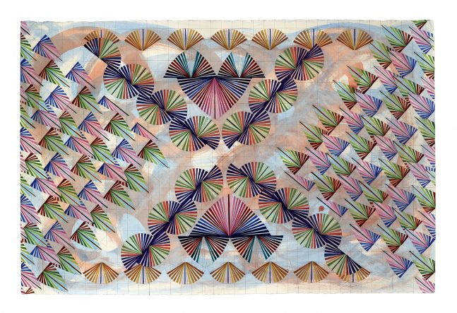 Mara Held  Straight Lines 3, 2020  gouache and egg tempera on paper  paper: 26 3/8 x 39 7/8 inches  frame: 34 7/8 x 44 7/8 inches  verso  $8,000