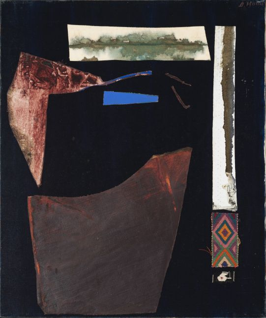 Dorothy Hood  Shards of the Earth, c. 1980s  oil on canvas with collage elements  canvas: 24  x 20 inches  frame: 24 5/8 x 20 5/8 inches  $25,000