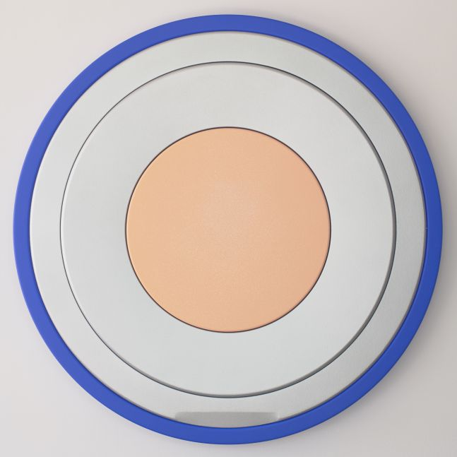 Sylvie Fleury Essence de Teint (Golden Beige), 2019 acrylic on canvas on wood 49 1/4 x 49 1/4 x 3 3/4 inches