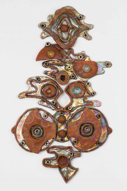 Julia Kunin  Labrys Queen, 2019 ceramic wall piece 49 x 28 x 4 inches     $21,000