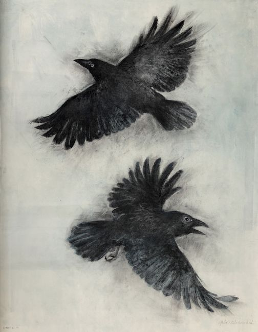 John Alexander Black Crows, 2017 monotype and pastel on paper 32 x 25 inches