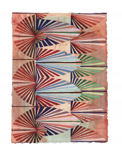 Mara Held  Straight Lines A, 2020  gouache and egg tempera on paper  11 3/8 x 8 3/8 inches  verso  $1,400