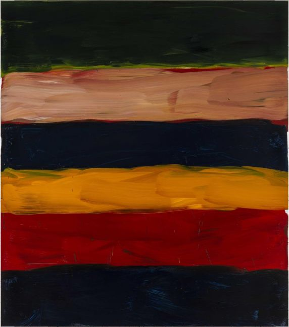 Sean Scully Landline Green Bolt 2018 oil on aluminum 85 x 75 inches (215.9 x 190.5 cm)