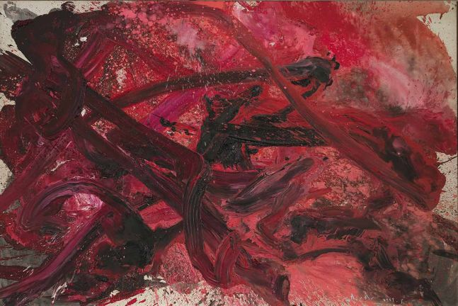 Kazuo Shiraga Untitled  1959 oil on canvas 71 3/4 x 107 inches (182.2 x 271.8 cm)  Private collection
