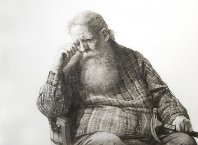 Steven Assael, Henry and Hammer, 2020, graphite and crayon on paper, 11 3/8 x 15 1/2 inches