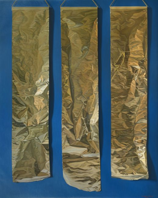 Three Aluminum Papers, 2010, oil on canvas, 63 3/4 x 51 1/8 inches