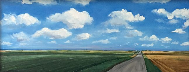 William Beckman, Soybeans/Wheat, 2020, oil on panel, 7 x 18 1/4 inches