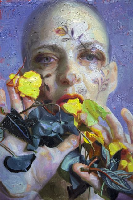 Alyssa Monks, Stay Open, 2020, oil on panel, 18 x 12 inches