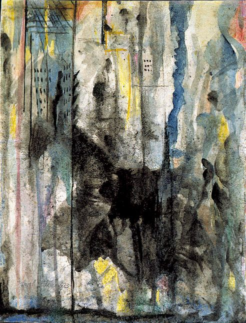 Joseph Stella, Study for New York Interpreted, 1923, oil, pastel, watercolor, ink and pencil on paper, 11 x 8 1/2 inches