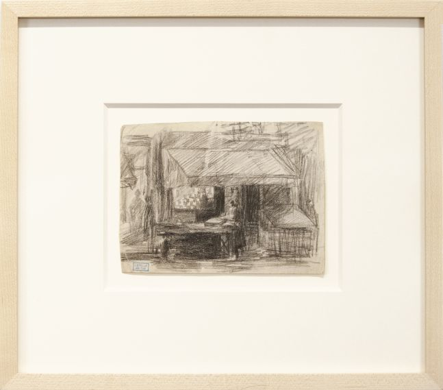 Joseph Stella, Interior, n.d., pencil on paper, 4 3/8 x 6 inches