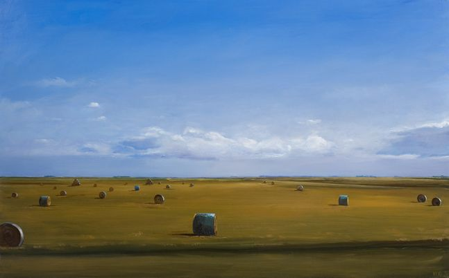 William Beckman, Bales #3, 2019, oil on panel, 24 x 39 inches