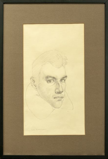 Jules Kirschenbaum, Self-Portrait, circa 1954, pencil on paper, 15 3/4 x 8 5/8 inches