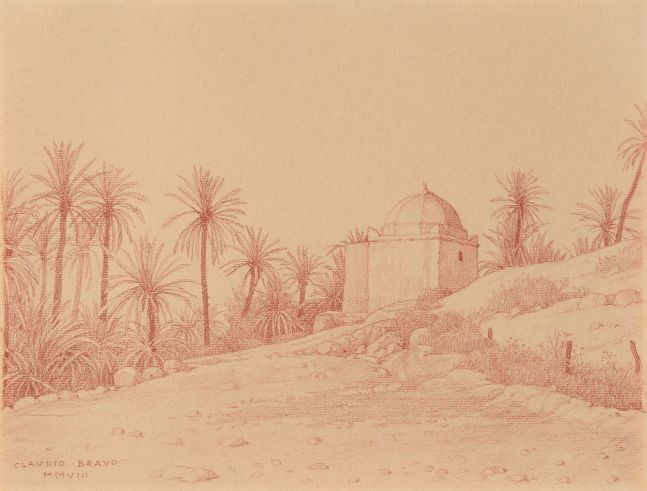 Marabout de Tata, 2008, sanguine on sepia paper, 9 1/2 x 12 inches