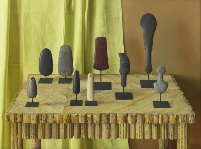 Ritual Stones, 1997, oil on canvas, 38 x 51 inches