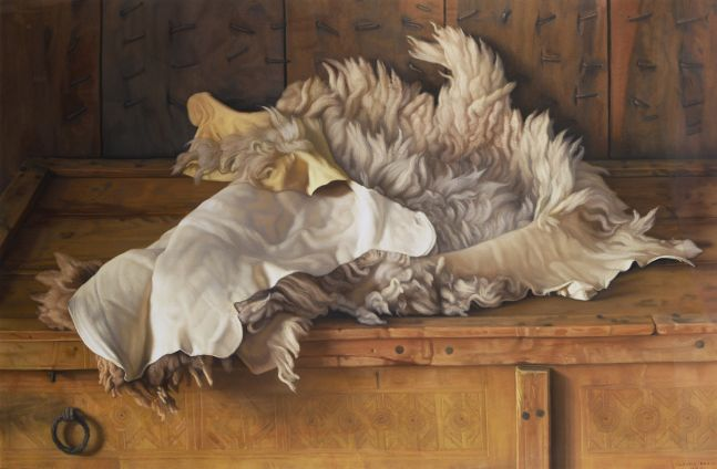 Claudio Bravo, Lamb Skin, 2003, pastel on paper, 29 1/8 x 42 7/8 inches