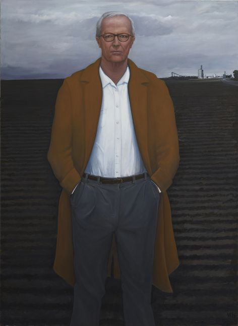 William Beckman Overcoat with Plowed Field, 2018-2019 oil on canvas 100 x 73 inches