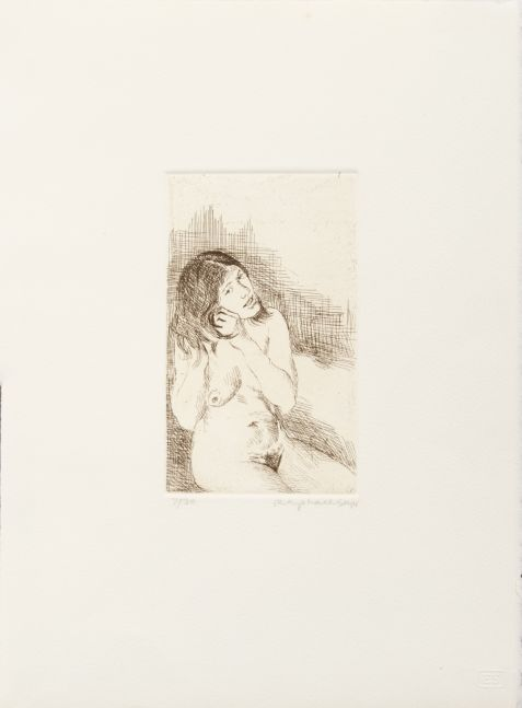 Raphael Soyer, Young Woman Fixing her Hair, 1979, etching, 6 3/4 x 4 in, Edition #23/30