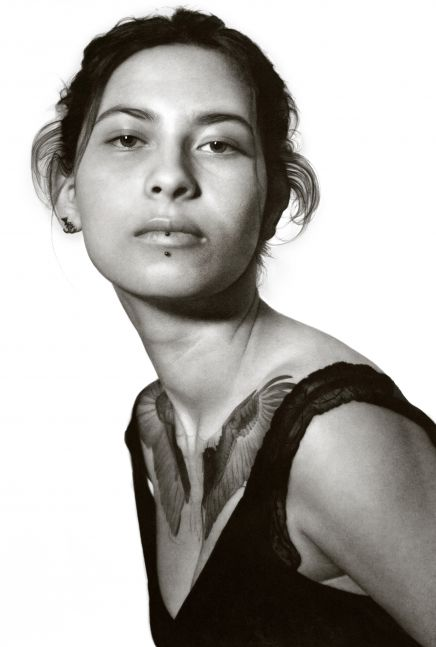Thivya, 2020, compressed charcoal on paper, 88 3/8 x 58 inches