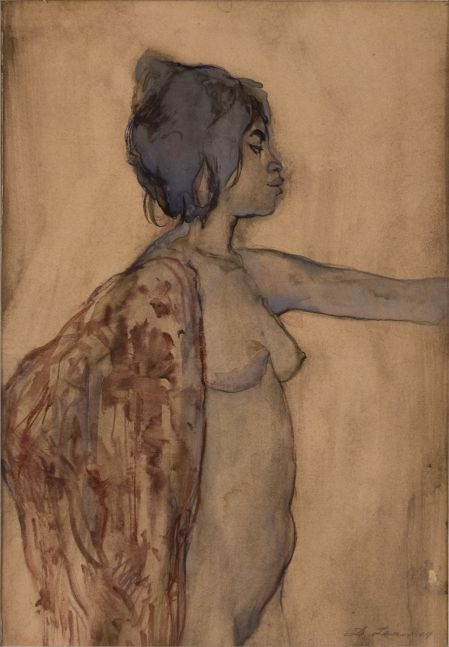 David Levine, Nude Dancer, 1969, watercolor on paper, 12 x 8 inches