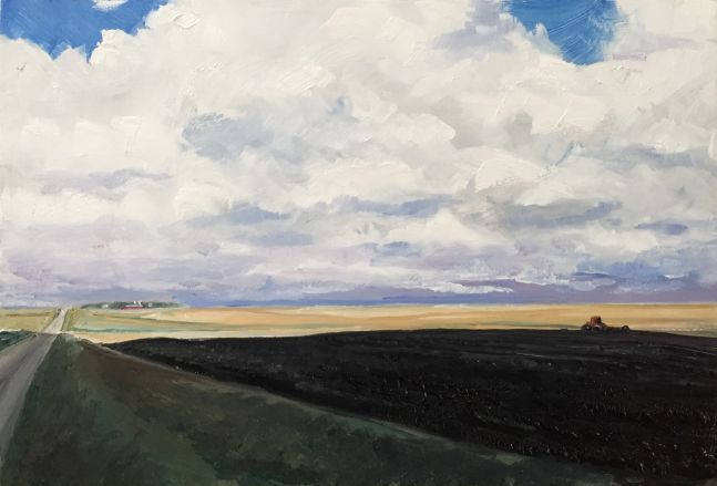 William Beckman, Side Road, 2020, oil on panel, 8 3/8 x 12 1/2 inches