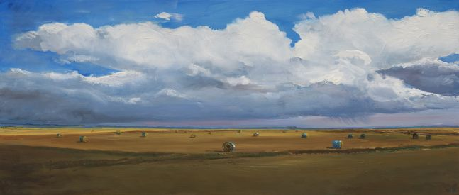 William Beckman, Bales #5, 2020, oil on panel, 7 1/4 x 17 1/4 inches