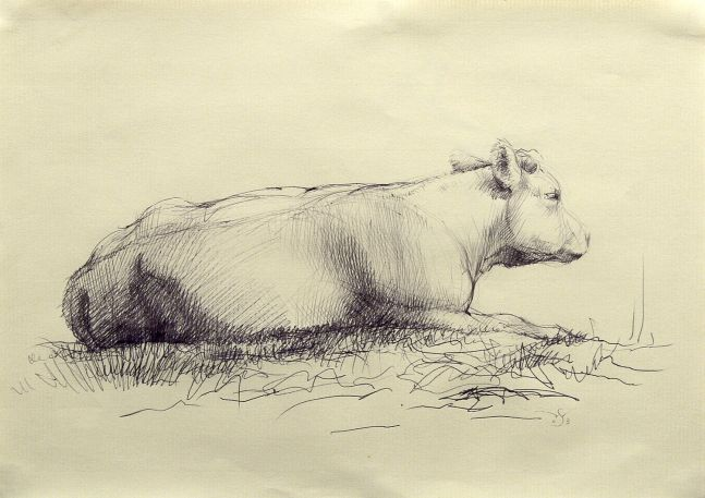 Wade Schuman Cow (from side), 2003, black ballpoint pen on buff paper, 7 1/2 x 10 inches