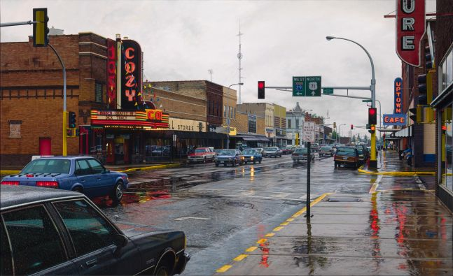 Davis Cone, Cozy/Rainy Day, 2012, digital print and silk screen, 23 1/2 x 39 inches (image), 29 x 44 inches (paper), Edition 5/50