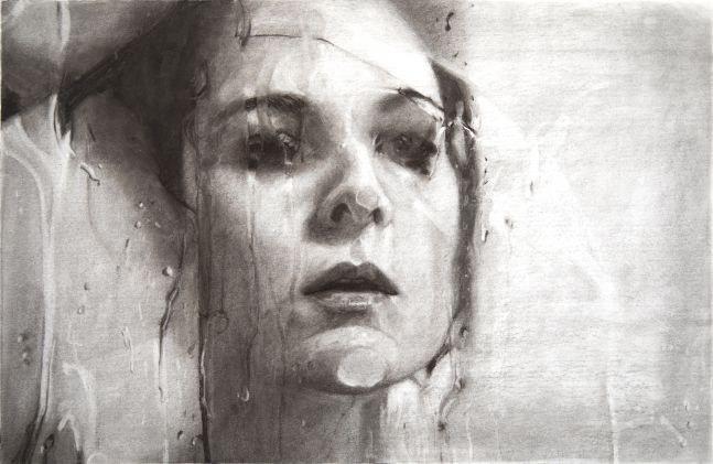 Alyssa Monks, Transfixed (drawing), 2020, vine charcoal on paper, 15 1/8 x 22 7/8 inches