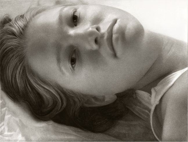 Grace Reclining, 2020, compressed charcoal on paper, 38 x 50 inches