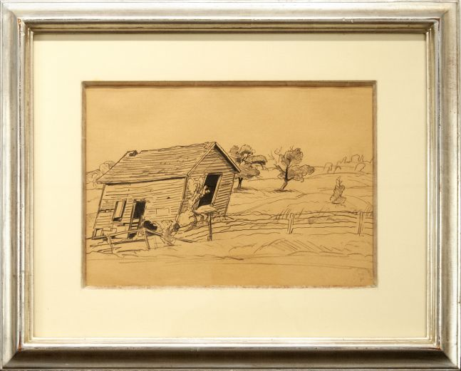 Charles Burchfield, Old House and Apple Tree, 1932, pencil on buff paper, 11 x 15 1/2 inches