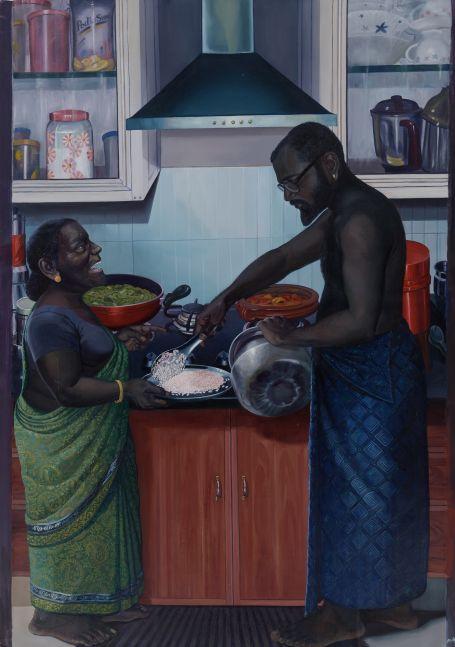 RATHEESH T.  Amma, 2016  Oil on canvas   70.9 x 47.3 in / 180.2 x 120.3 cm